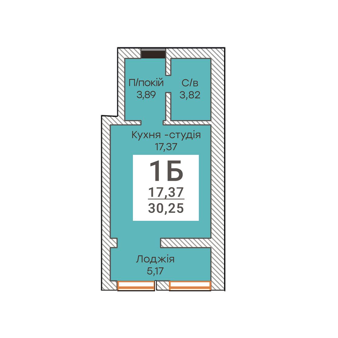 Однокімнатна квартира 30,25 м.кв
