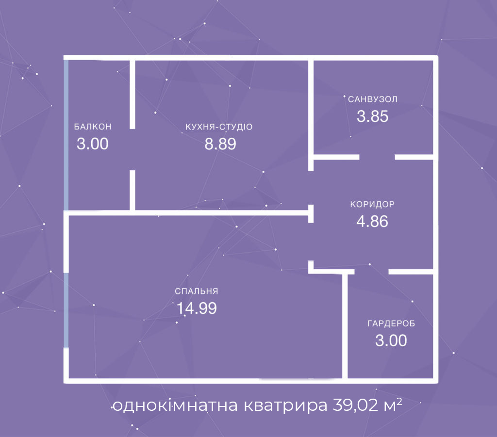 однокімнатна кватрира  39,02