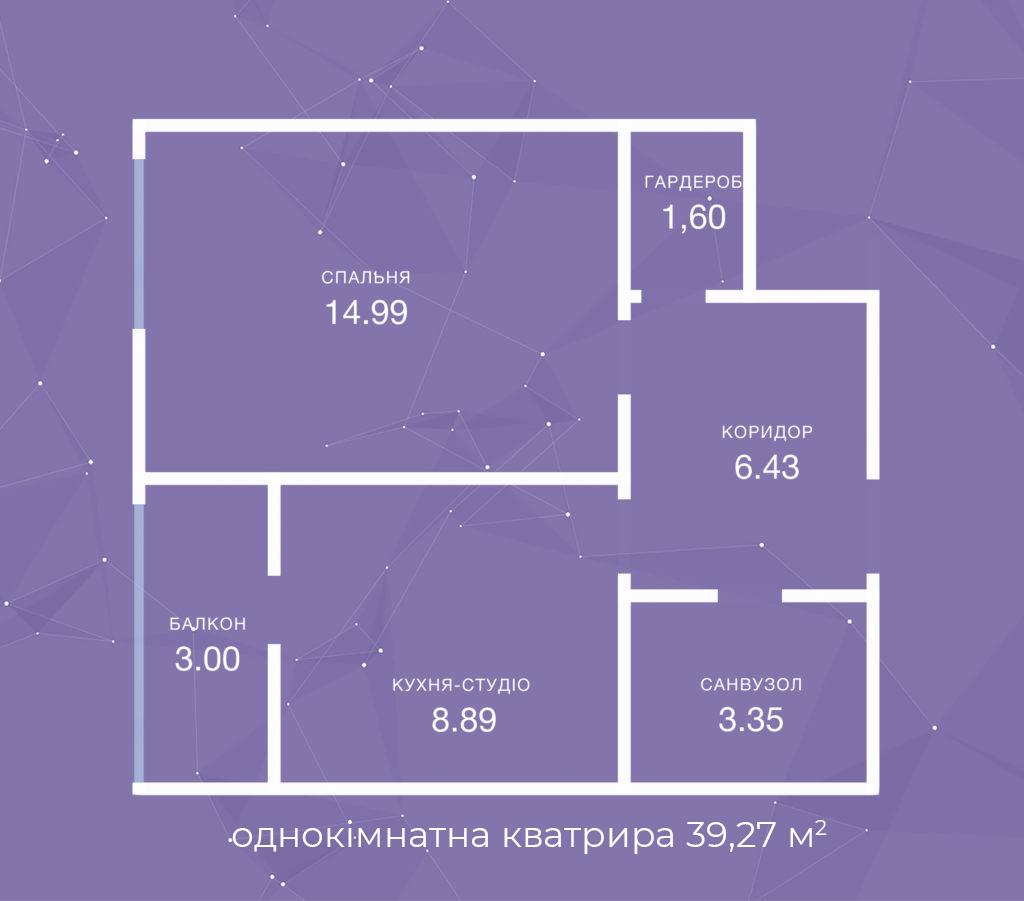 однокімнатна кватрира  39,27
