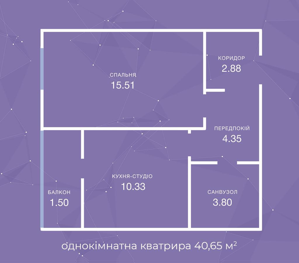 однокімнатна кватрира  40,65