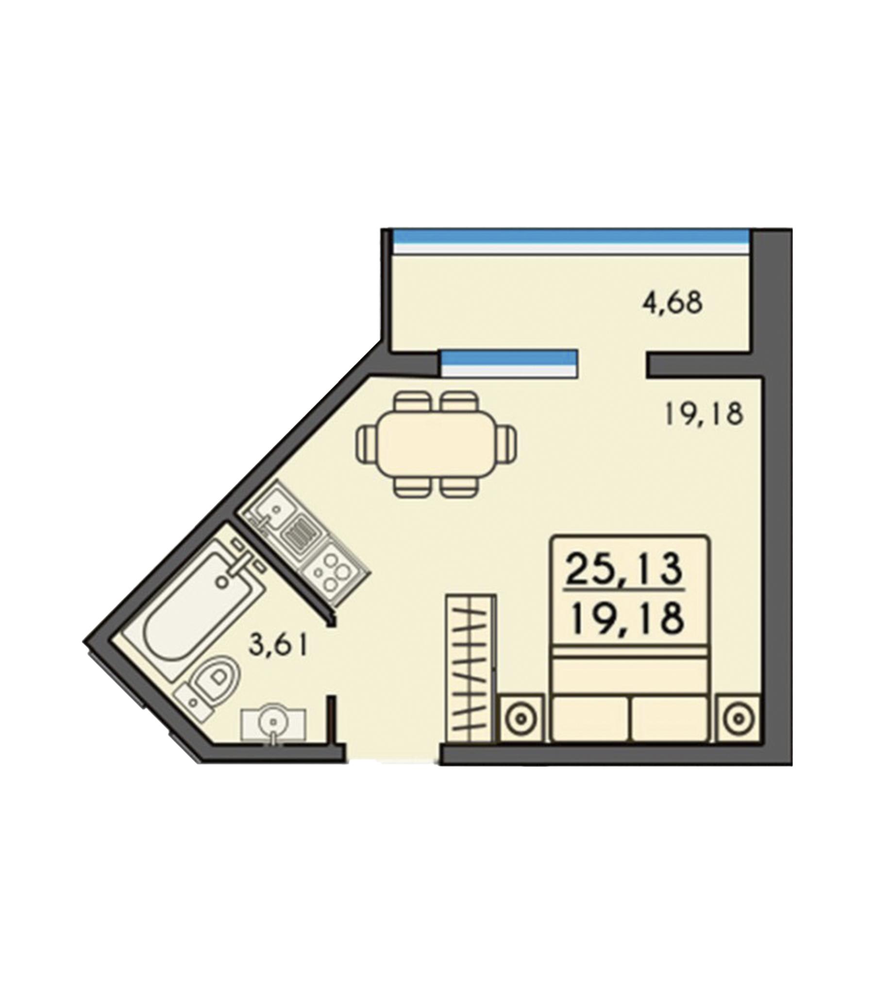 Однокімнатна квартира 25,13м2