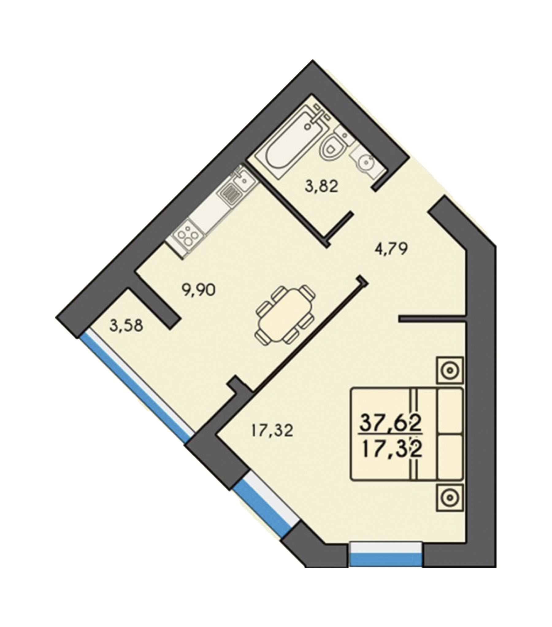 Однокімнатна квартира 37,67м2