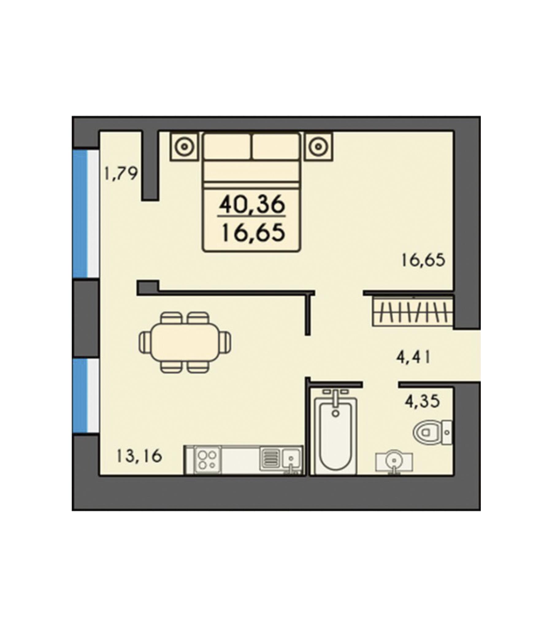 Однокімнатна квартира 40,36м2