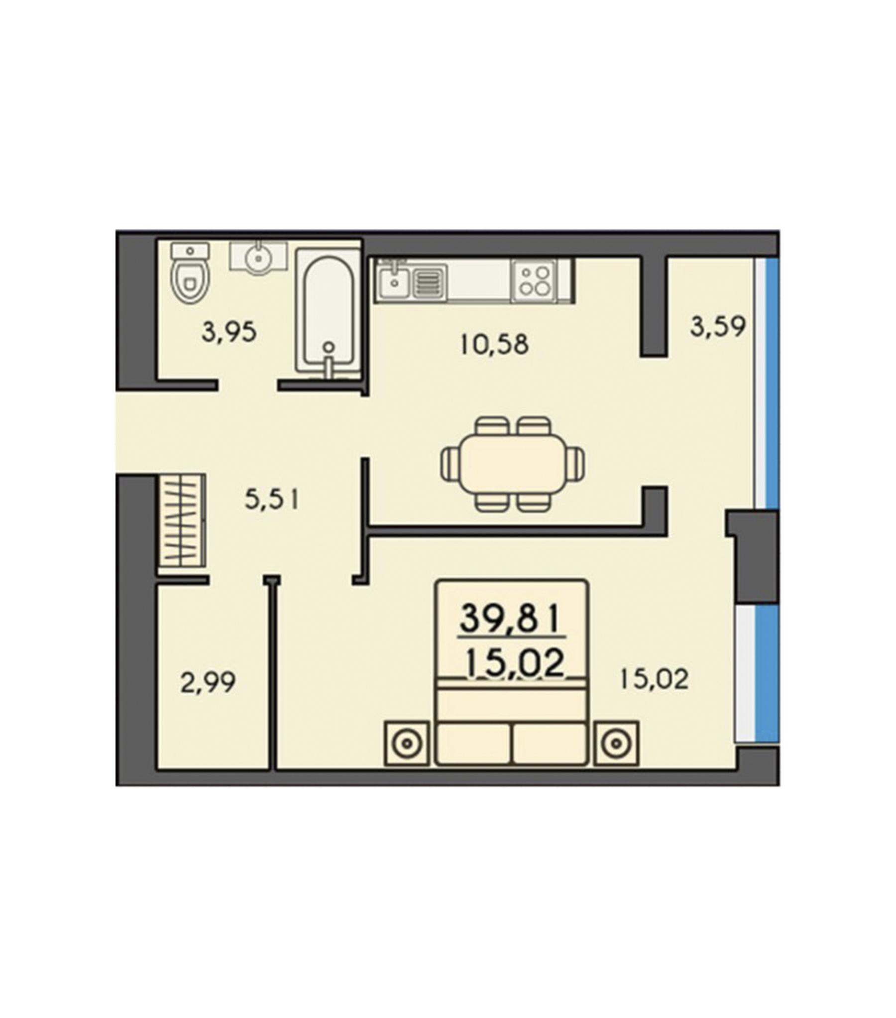 Однокімнатна квартира 39,81м2
