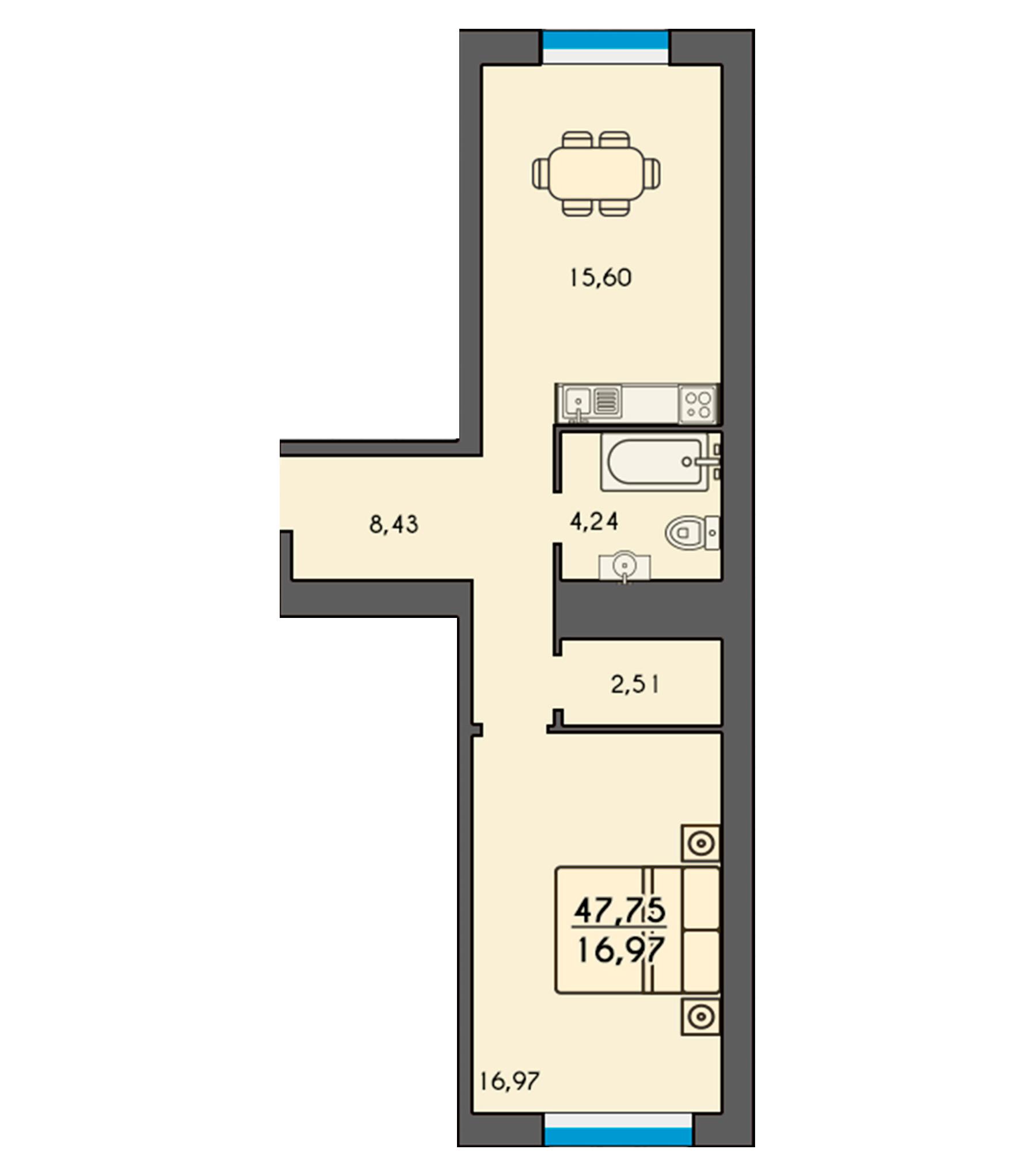 Двокімнатна квартира 47,75м2